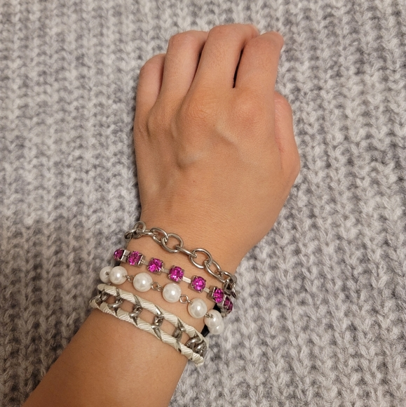 Layered Pink Guess Bracelet with Pearls